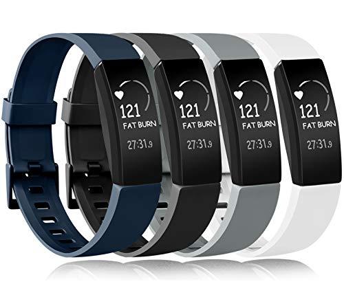 Amzpas Compatible para Fitbit Inspire Correa & Inspire HR Correa, Soft Deportes Pulseras Reemplazo Band Compatible para Fitbit Inspire & Fitbit Inspire HR (0002 Negro+Azul Marino+Gris+Blanco, S)
