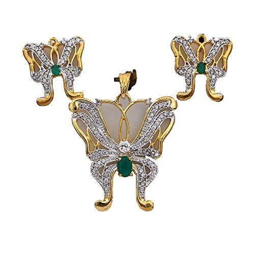 CaratYogi cobre chapado en oro ovalada Green verde-ónice