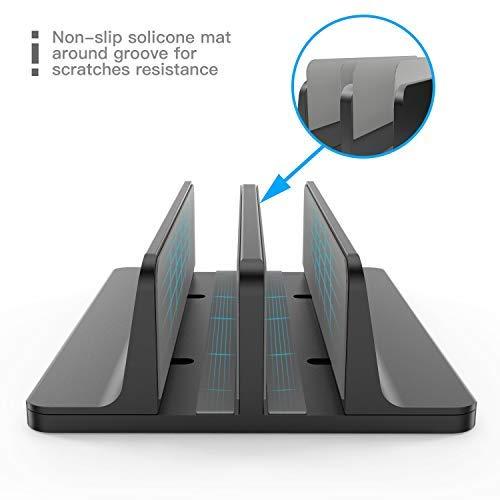 [Neuste Version] OMOTON Verstellbarer vertikaler Laptop Ständer, doppelplatzer Ständer für alle Tablet und Notebooks - Perfekt für MacBook, Lenovo und andere, Doppelplatz, Schwarz