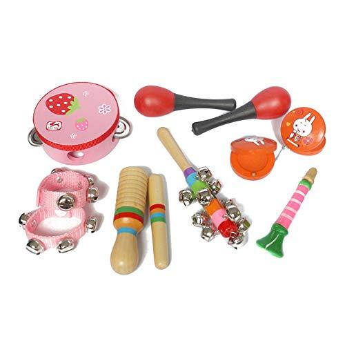 ZXIAQI Musikinstrumente Spielzeug für Kleinkinder, 10 Stück Kinder Musikalische Schlaginstrumente aus Holz mit Tamburin, Kastagnetten Vorschulpädagogisches Lernspielzeug für Kinder,Rosa