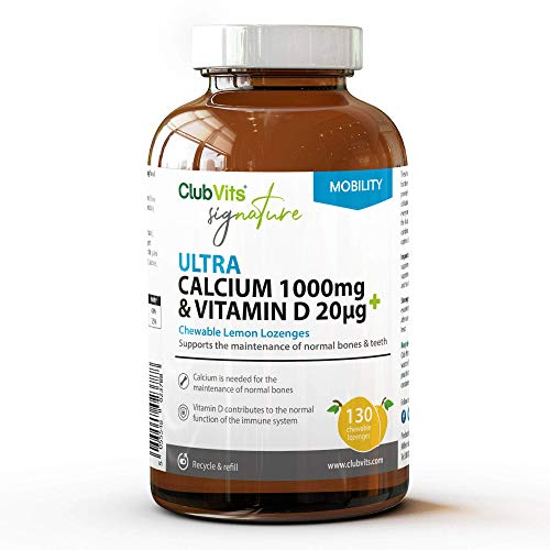 Vitamin D & Calcium Supplement Lozenges - Signature - Contains 20ug VIT D + 1000mg of Calcium for Immune Support - Easy Take Daily Chewable Tablets - Lemon Flavour - 130 Day Supply - by Club Vits