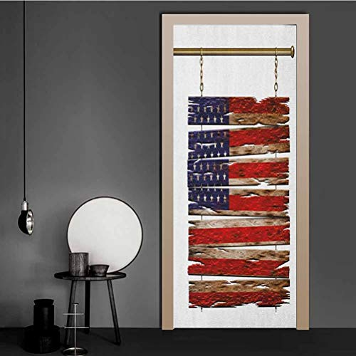 3D Door Decal United States Flag Painted Wooden Planks 4th of July Design Illustration Self-Adhesive Door Decals DIY Art Home Decor Decoration Multicolor 98x200 CM