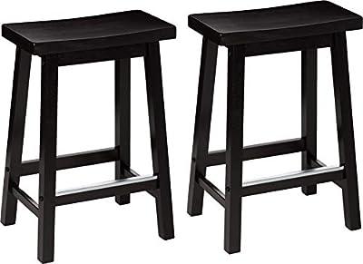 AmazonBasics Classic Solid Wood Saddle-Seat Stool Set with Foot Plate