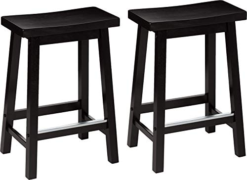 AmazonBasics Classic Solid Wood Saddle-Seat Counter Stool with Foot Plate - 24\