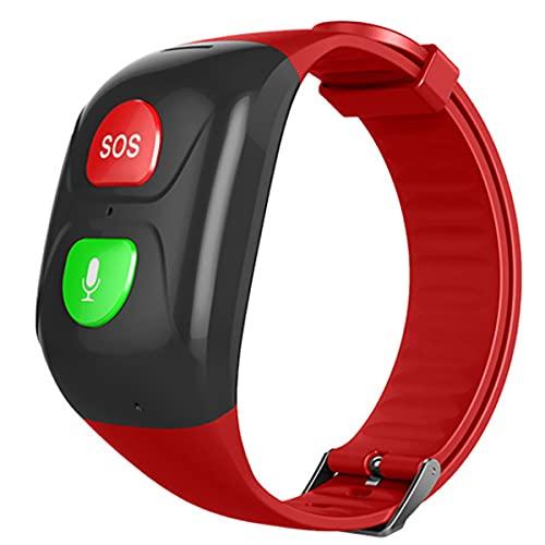 FVIWSJ Pulsera SOS Rastreador GPS para Personas Mayores Llamada de Emergencia SOS, Ubicación GPS, Teléfono, Ayuda en Caso de Emergencia Correas de Silicona Lavables Pulseras Deportivas,Rojo