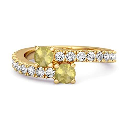Shine Jewel Multi Elija su Piedra Preciosa 0.04 CTS Anillo único de vástago Dividido Chapado en Oro Amarillo de Plata de Ley 925 (12, limón-Cuarzo)