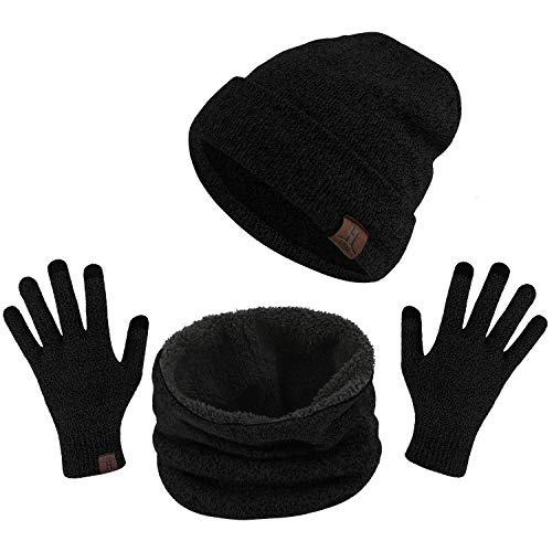 TAGVO Winter Beanie Hut, Schal, Touchscreen Handschuhe 3 in 1 Warmes Zubehör Kit