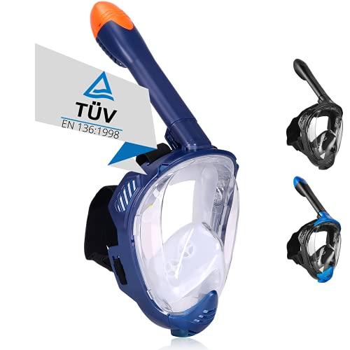 Khroom® TÜV geprüfte CO2 sichere Schnorchelmaske Vollmaske Modell 2021 -Tauchmaske für Erwachsene und Kinder | Vollgesichtsmaske zum Schnorcheln (Matt-Dunkelblau+Soft-Case, L-XL)