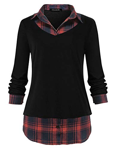 Oyamiki Women's Classic Collar Long Sleeve Curved Hem 2 in 1 Knit Pullover Plaid Contrast Tops Blouse Black/M