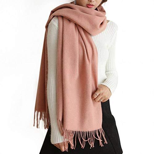 SLI-sjaal herfst en winter effen kleur wol kwast sjaal mode dikke warme sjaal, kaneel poeder, 200CM
