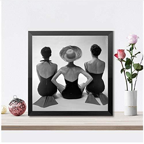Zwart-wit oude fotografie vrouw poseren prints zwemkleding Vintage mode poster Canvas schilderij badkamer Home Wall Decor-40x40cm geen Frame