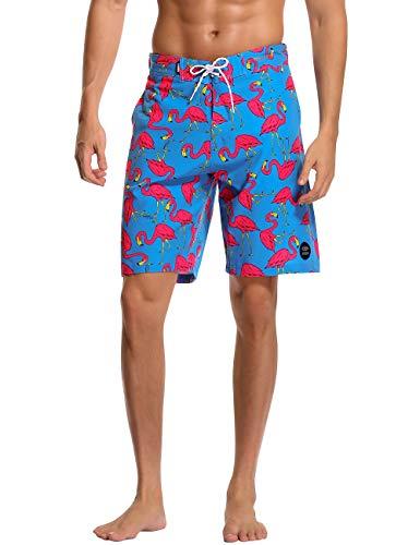 AXESEA Mens Swim Trunks Quick Dry Surf Elastic Swimwear Bathing Suits No Mesh Lining (Flamingo, 34)