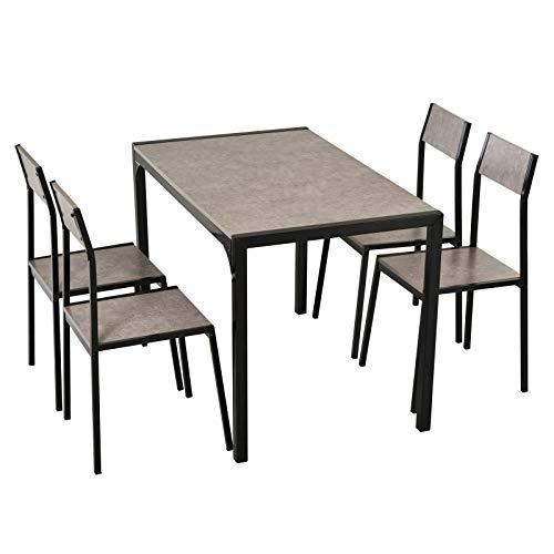HOMCOM Essgruppe, Esstischset, 4 Stühle Esszimmergarniturset, Sitzgruppe, Tischgruppe, Grau