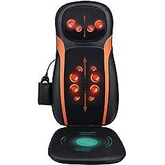 Podkładka do masażu Shiatsu masaż fotel restback masaż z funkcją cieplną - elektryczna mata do masażu z ugniataniem masażu rolkowego, 3 strefy masażu, masaż wibracyjny na szyi pośladki relaksacyjne