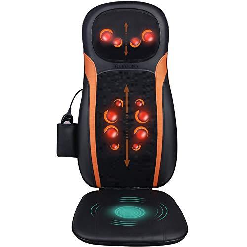 Massageauflage Shiatsu Massagesitzauflage Rückenmassagegerät mit Wärmefunktion - Elektrisch Massagematte mit Kneten Rollmassage, 3 Massagezonen, Vibrationmassage für Nacken Rücken Gesäß Entspannung