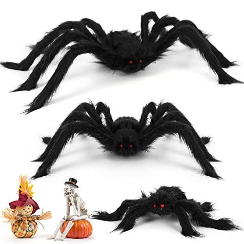 Meleager Halloween Spinne 3PCS, Riesen Spinne Halloween Groß, 75 cm, 60cm, 30cm, Riesen Horror Plüschspinne, deko Garten Gruselig, Schwarze Gruselspinnen, Spinne Dekoration