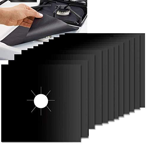 fortspang 12 Pièces Plaque de Cuisson à Gaz Universel Protection d écran Anti-adhésif en téflon Tapis de cuisinière à gaz réutilisables | Nettoyage Rapide 10.6  x 10.6  Protectors