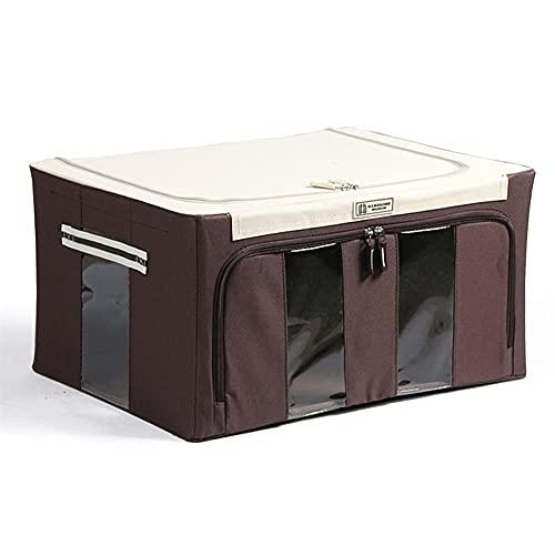 JIANGCJ Bolsa de almacenamiento plegable económica y práctica, organizador de armario de 88 L y almacenamiento, caja de almacenamiento con marco abierto de 2 lados, con asa y ventana (color: Ee)