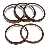 5 Rotoli Nastro Kapton Resistente al Calore per Sublimazione, Nastro Adesivo Isolante Kapton Tape per Pressa a Caldo, Circuiti, Fili, Saldatura a Stagno