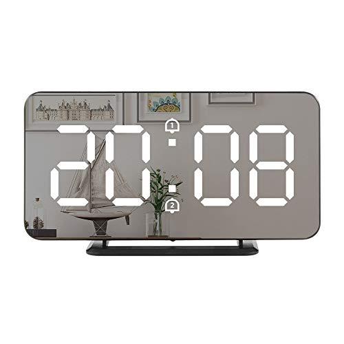 Despertador digital, pantalla LED grande con puertos de cargador USB duales, función de repetición fácil, reloj de pared de espejo moderno para dormitorio, hogar, oficina, para todas las personas