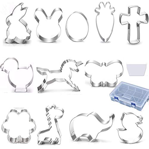 12PCS Easter Cookie Cutters Set with Spatula in Storage Box,Stainless Steel Easter Biscuit Bread Baking Pastry Cutters for Holiday Party,of Bunny,Egg,Rabbit,Carrot etc
