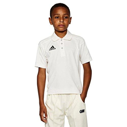 adidas Kurzarm Junior Cricket Shirt Cricket Kleidung Tops Weiß, Weiß, 10 Jahre