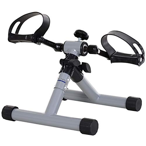 homcom Mini Cyclette Pedaliera per Gambe e Braccia per Fitness a Casa, Resistenza Regolabile Pedali Antiscivolo