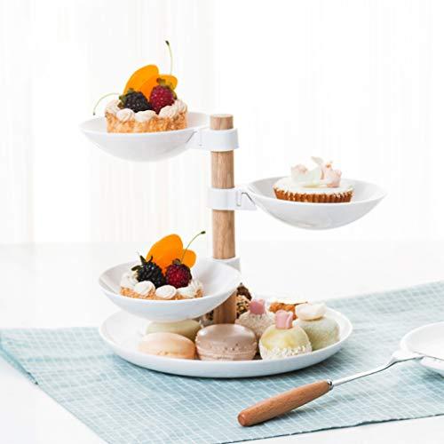 dedepeng - Juego de 4 platos para tartas y frutas, plástico, color blanco