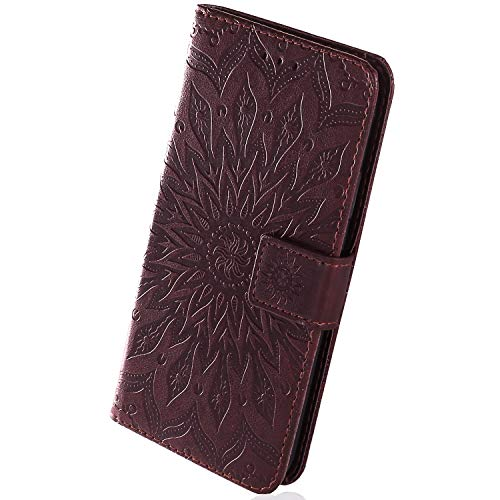 Best Deals! Herbests Compatible with Sony Xperia XZ3 Wallet Case Emboss Sunflower Folio Flip Leather...