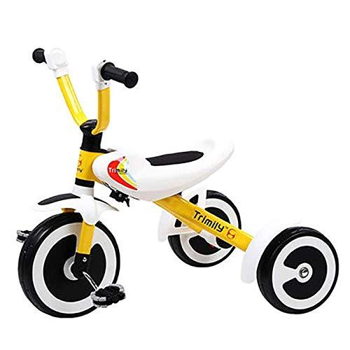 Triciclos para niños portátiles para niños de 3 a 6 años, Trible DE NIÑOS DOPLETA 3 Rueda BIÑOS BIÑOS NIÑOS NIÑAS NIÑOS TRICICLOS TRICICLOS Trible Trike (Color : Yellow)