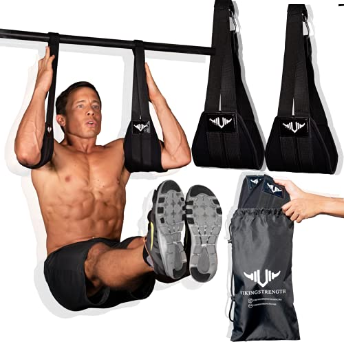 Vikingstrength AB straps - Premium Padded Home Gym Exerciser Ab Slings pair for pull up bar - Hanging Leg Raiser Fitness for six pack - Workout Equipment for Men & Women + Bonus Bag