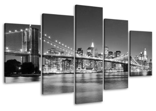 Visario Photos sur Toile de New York, 100cm de Large x 50cm de Haut, prêtes à Suspendre, du Studio