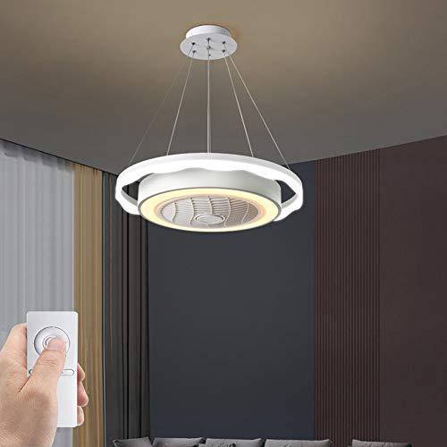 SXYY-Wellig Abgehängte Decke LED Modern Deckenventilator Licht/Unsichtbares Fan Licht - Deckenventilatoren Mit Beleuchtung Und Fernbedienung, Für Schlafzimmer/Küche/Wohnzimmer, Φ23.62In 72W