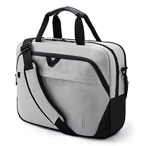 Bagsmart Laptop-Tasche, 39,6 cm (15,6 Zoll) Aktentasche, abschließbar, Computer-Tasche für Männer & Frauen, grau