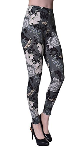 VIV Collection Plus Size Printed Brushed Ultra Soft Leggings (Ageless Blossom)