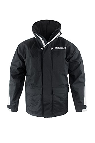 WindRider Pro Rain Jacket | Foul Weather Jacket | Fishing, Sailing, Boating Black/Silver