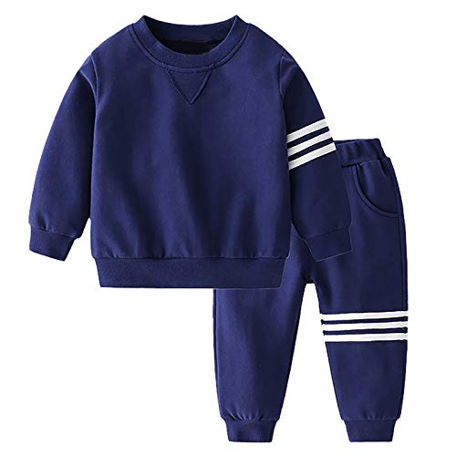 renvena Kinder Sport Kleidung Set Jungen Mädchen Trainingsanzug Jogginganzug Langarm Sweatshirts mit Hose Streetwear für Herbst Winter Zza Marineblau 98-104