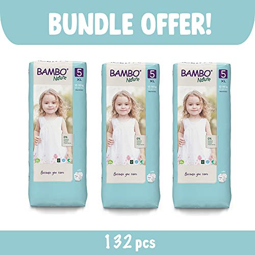 Bambo Nature Size 5 Premium Eco Nappies (27-40 lb/12-18 kg) 3 x Tall Pack of 44 (Case Saver)