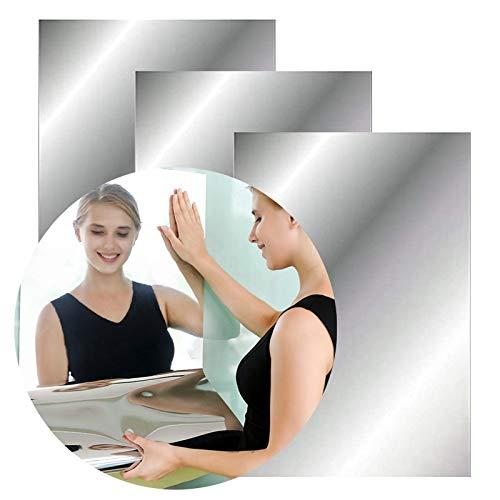 Sufang 3 x Spiegel-Wandaufkleber, selbstklebend, flexibel, kein Glas, Spiegelfliesen für Zuhause, Wohnzimmer, Schlafzimmer, Wanddekoration