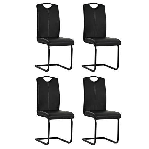 Festnight Esszimmerstühle 4 STK. | Kunstlederstuhl 4er Set | Freischwinger Stühle | Esszimmer Schwingstuhl | Modern Essstuhl | Küchenstuhl | Schwarz Kunstleder 43 x 55 x 100 cm