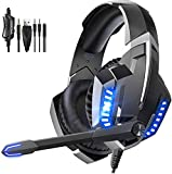 GLEENFIT Xbox Series X Headset,PS5&PS4 Headset with Microphone,Xbox One Headset with Noise Canceling Mic&Led Light, PC Headset with 7.1 Bass Surround Sound, Nintendo Switch Headset with Mic.