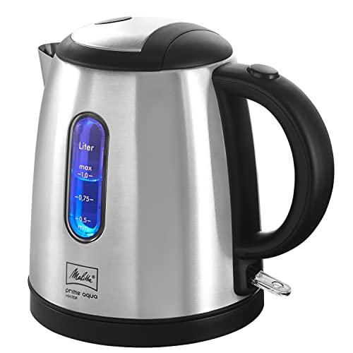 Wasserkocher - MELITTA - Prime Aqua mini Top, Edelstahl, 1,0 L, 2200 W, externe Wasserstandsanzeige, 1018-03