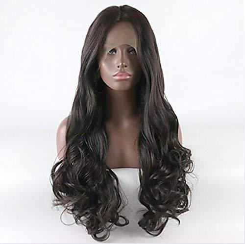 Synthétique dentelle avant perruques femmes's Curly Dark Brown partie libre 180% densité cheveux synthétiques réglable dentelle résistant à la chaleur brun foncé perruque longue dentelle avant,22inch