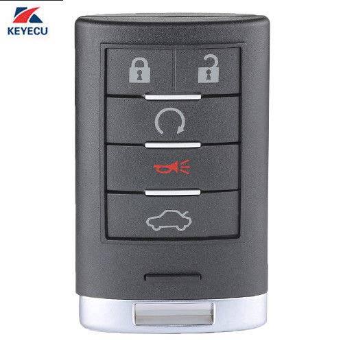 Keyecu Replacement Smart Remote Key Fob 5 Button for Cadillac STS CTS 2008-2013