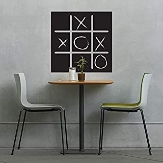 Majiae Vinyl Peel and Stick Mural Removable Decals Tic Tac Toe Chalkboard Game