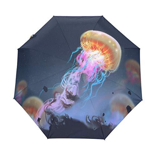 Hunihuni Regenschirm mit Tier-Quallen, automatisch, faltbar, Winddicht, wasserdicht, UV-Schutz, Sonnenschutz