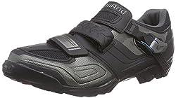 Shimano Adult Cycling Shoes MTB Cycling Shoes Wide SPD Velcro / Ratchet, black, 43 EU