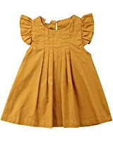 Niyage Baby Toddler Girls Flutter Sleeve Pleated Casual A Line Dress Yellow 100