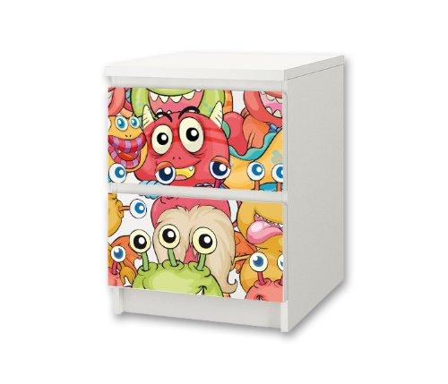 STIKKIPIX liten monster möbelklistermärke/dekal för barnkammare kommode/nattbord MALM från IKEA – NS24 – möbler ingår ej