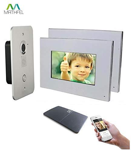 2 Draht Video Türsprechanlage Gegensprechanlage 2x7'' Monitor mit WLAN Schnittstelle